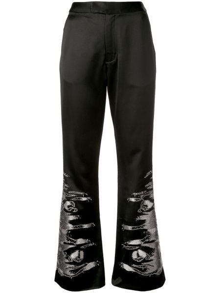 Черные расклешенные брюки с вышивкой Josie Natori