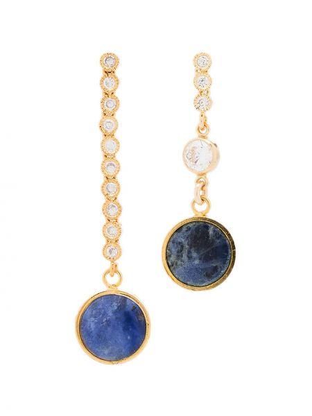 Niebieskie złote kolczyki sztyfty pozłacane Brinker & Eliza