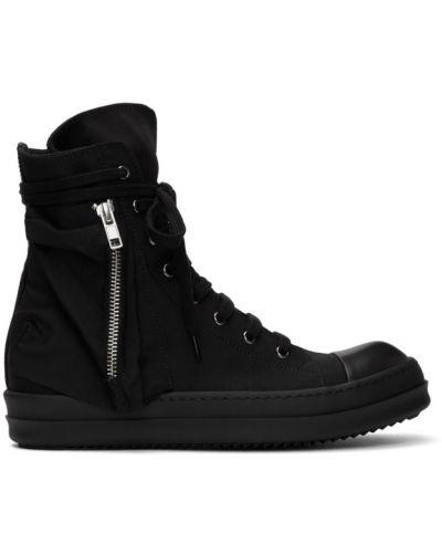 Ażurowy czarny wysoki sneakersy zasznurować z łatami Rick Owens Drkshdw
