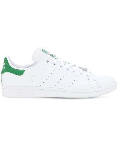 Biały koronkowa skórzany sneakersy na sznurowadłach Adidas Originals