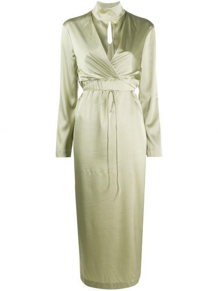 Платье миди с запахом с V-образным вырезом на пуговицах с воротником Matériel