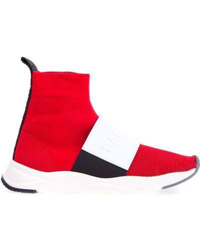 Кожаные кроссовки на резинке яркие Balmain