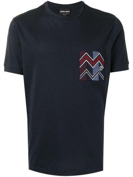 Прямая с рукавами черная футболка Giorgio Armani