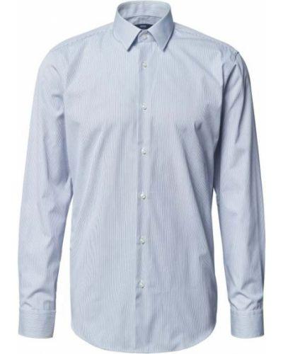 Niebieska koszula bawełniana w paski Boss