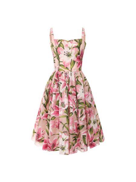 Платье розовое из органзы Dolce & Gabbana