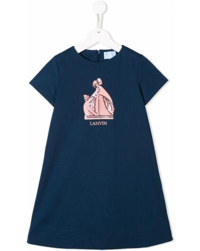 Синее платье с рукавами с вырезом круглое на молнии Lanvin Enfant