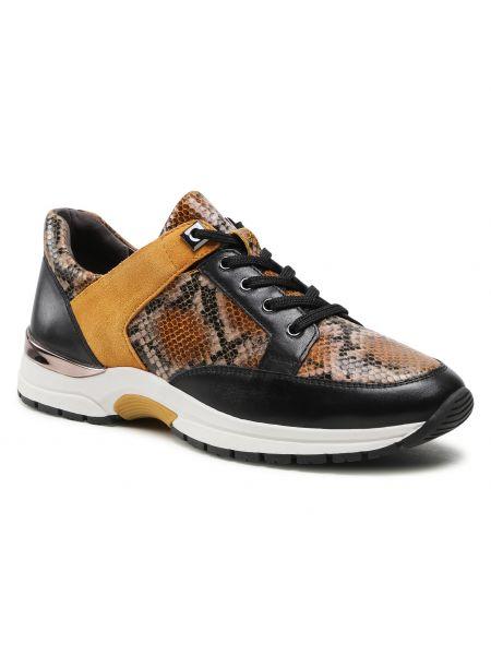 Buty sportowe skorzane - czarne Caprice