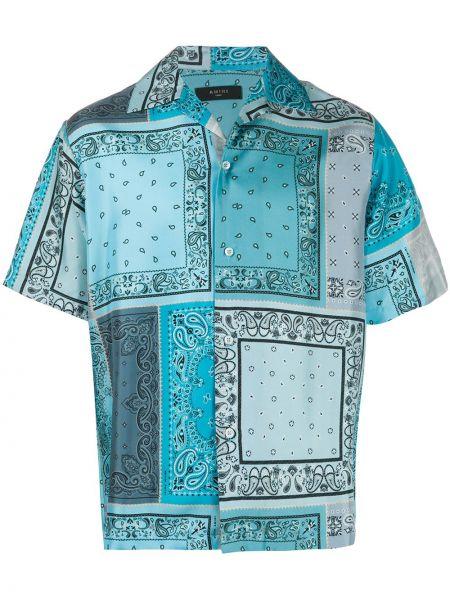 Koszula krótkie z krótkim rękawem jedwab z kołnierzem Amiri