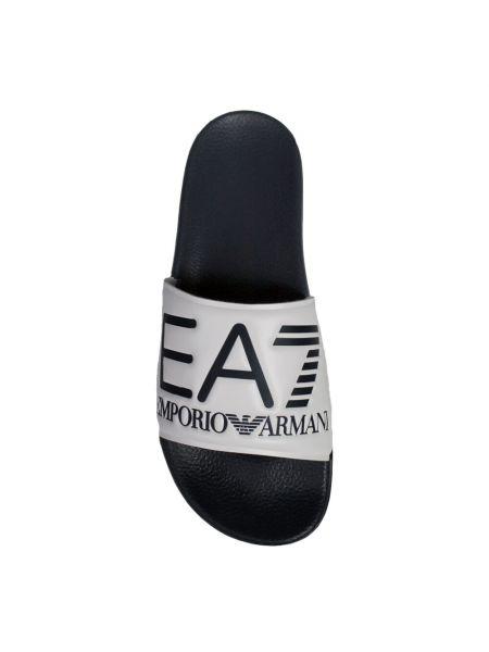 Białe kapcie na co dzień płaska podeszwa Emporio Armani Ea7