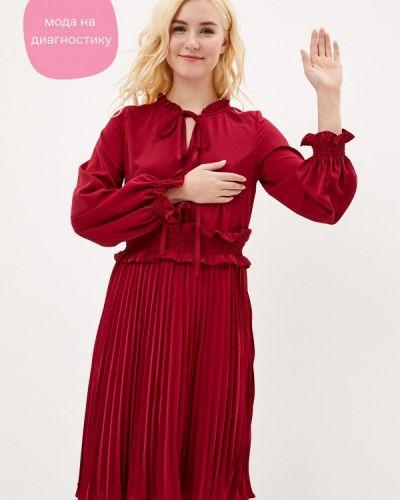 Прямое бордовое платье Cavo