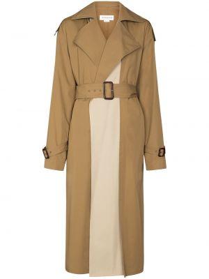 Brązowy bawełna bawełna długi płaszcz z kołnierzem Victoria Beckham