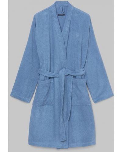 Szlafrok bawełniany - niebieski Marc O Polo