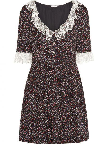 Платье мини на пуговицах с цветочным принтом Miu Miu