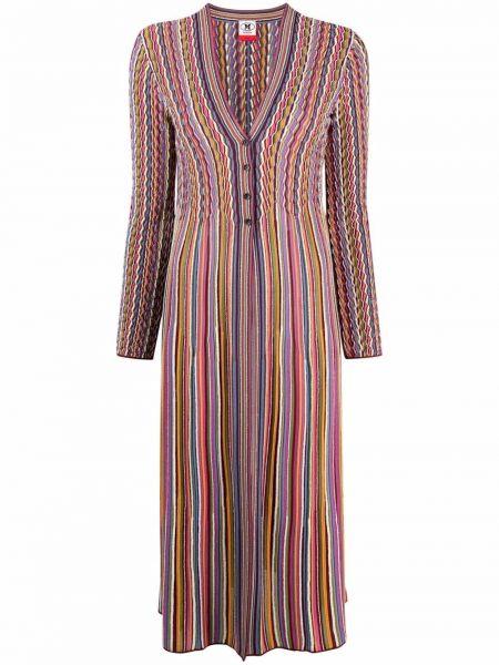 Розовое шерстяное длинное пальто с нашивками M Missoni