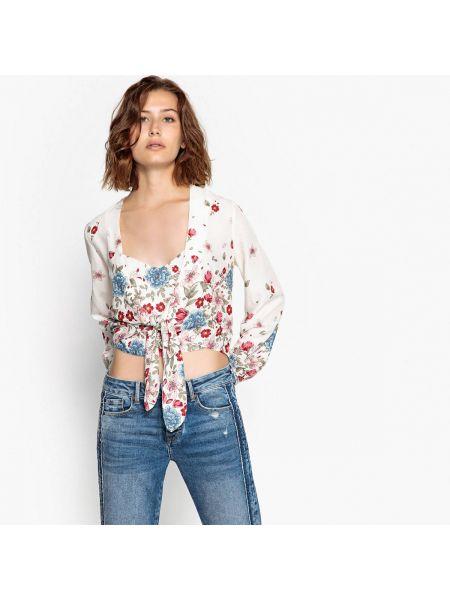 Блузка с длинным рукавом с V-образным вырезом с цветочным принтом Pepe Jeans