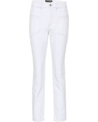 Zawężony bawełna bawełna biały obcisłe dżinsy Isabel Marant