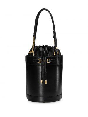Ze sznurkiem do ściągania czarny skórzana torebka z prawdziwej skóry Gucci