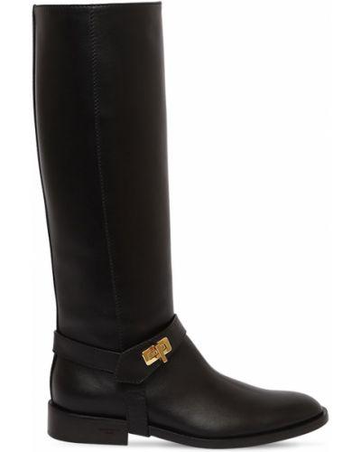 Czarny buty na pięcie z prawdziwej skóry prążkowany na pięcie Givenchy