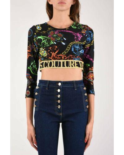 Crop top - czarna Versace Jeans Couture