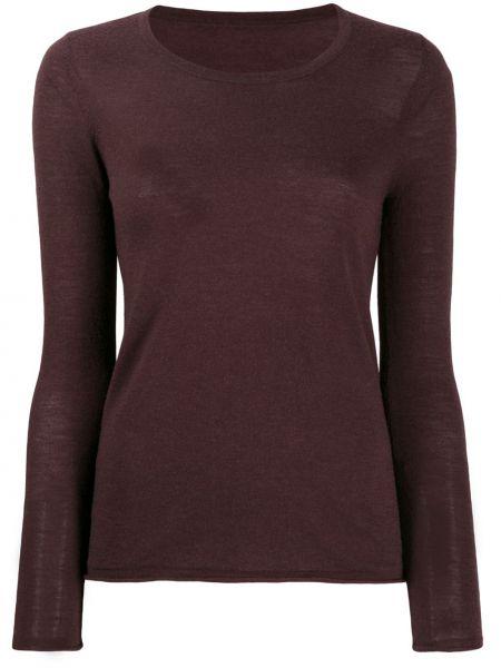 Прямой шерстяной коричневый свитер с круглым вырезом Sottomettimi