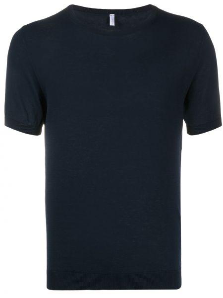 Хлопковая синяя вязаная футболка в рубчик Cenere Gb