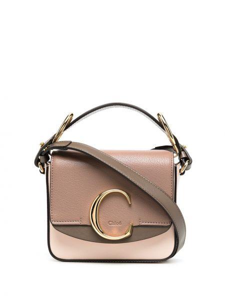 Skórzany brązowy torba na ramię z kieszeniami Chloe
