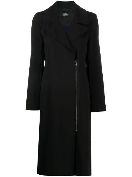 Черное плиссированное пальто на молнии с карманами Karl Lagerfeld