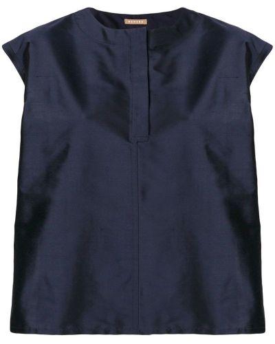 Блузка без рукавов шелковая синяя Nehera