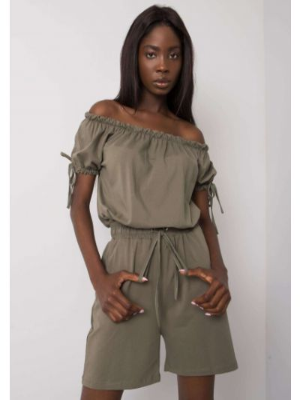 Kombinezon bawełniany - khaki Fashionhunters
