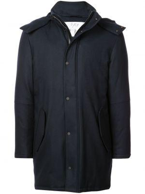 Синее шерстяное длинное пальто с капюшоном Aztech Mountain