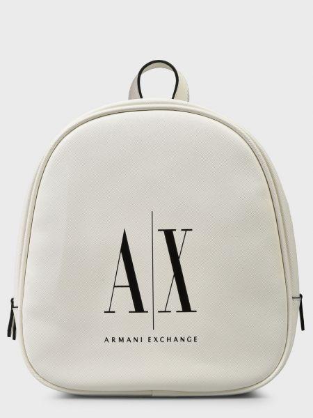 Белый кожаный рюкзак на молнии Armani Exchange