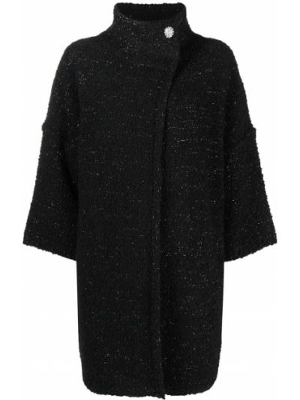 Черное пальто с воротником Liu Jo