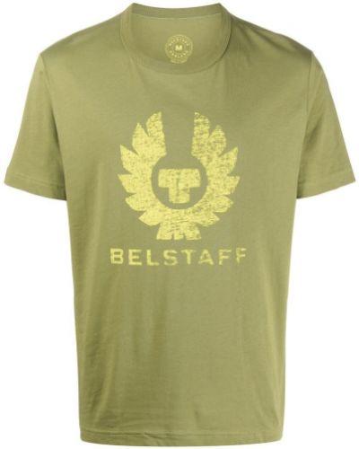 Zielony t-shirt bawełniany krótki rękaw Belstaff