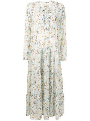 Расклешенное шелковое синее платье миди Bambah