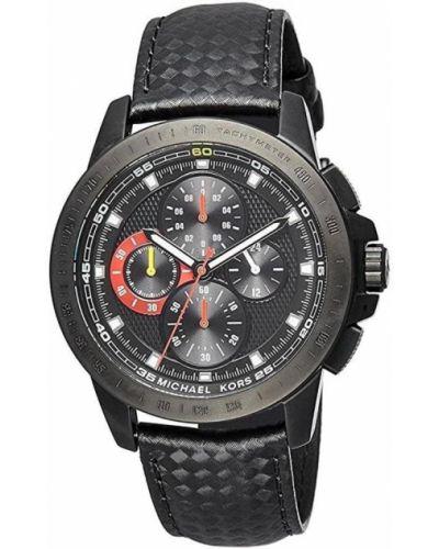 Czarny zegarek na skórzanym pasku skórzany kwarc Michael Kors