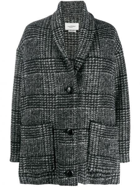 Черный удлиненный пиджак твидовый в клетку Isabel Marant étoile