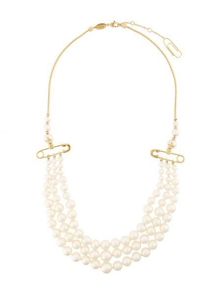 Krótkie szorty złoto metal pozłacany z perłami Vivienne Westwood