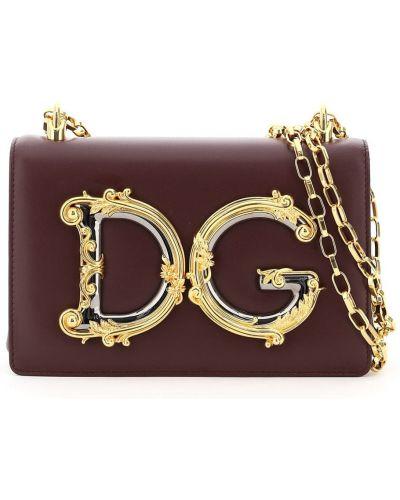 Фиолетовая с ремешком кожаная сумка на цепочке Dolce & Gabbana