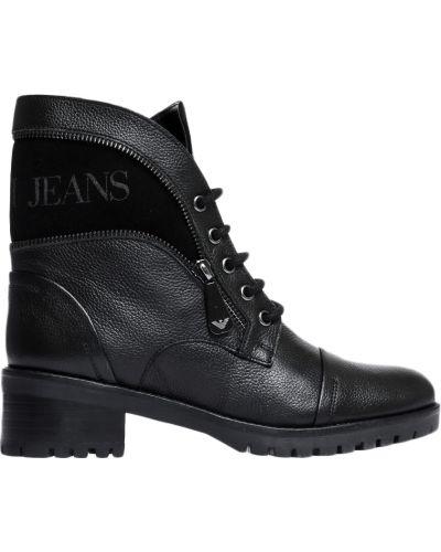 Ботинки на каблуке осенние кожаные Armani Jeans