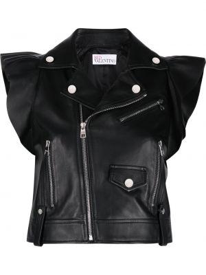 Кожаная куртка на молнии - черная Red Valentino