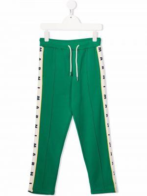 Zielone spodnie z printem Marni Kids