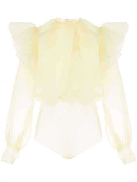 Желтое с рукавами боди прозрачное Saiid Kobeisy