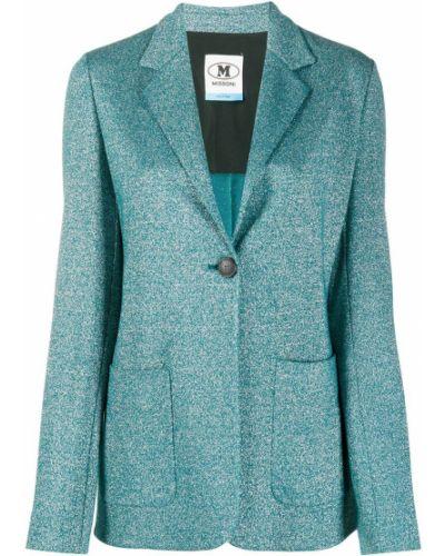 Трикотажный синий удлиненный пиджак с карманами M Missoni