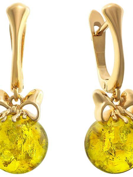 Золотистые желтые серебряные серьги с бантом позолоченные Darvin