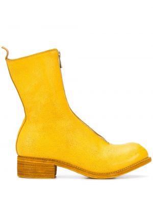 Botki na obcasie - żółte Guidi