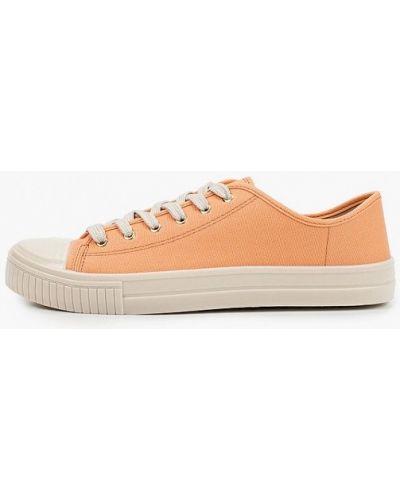 Оранжевые текстильные низкие кеды Moleca