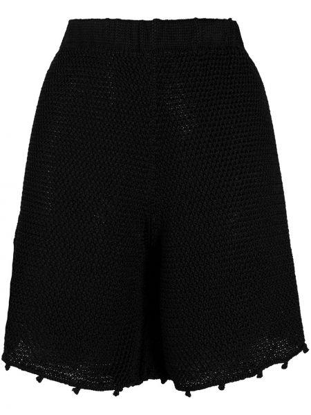 Черные вязаные шорты из вискозы Forte Forte