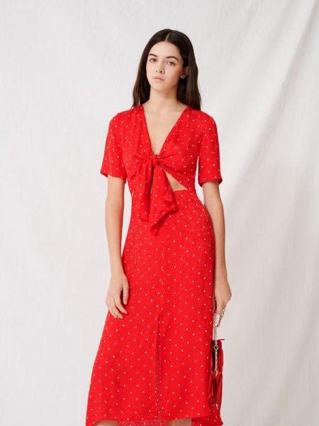 Повседневное платье красный весеннее Maje