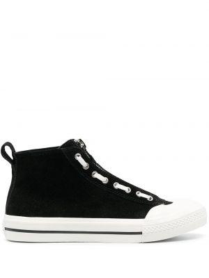 Skórzany czarny sneakersy na pięcie Diesel