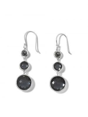 Серебряные серьги-гвоздики с камнями на крючках Ippolita